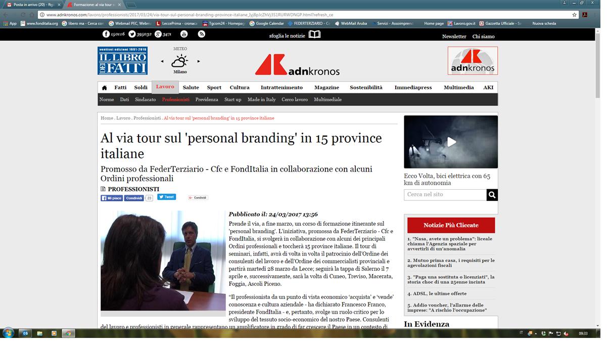 AL VIA TOUR SUL 'PERSONAL BRANDING' IN 15 PROVINCE ITALIANE