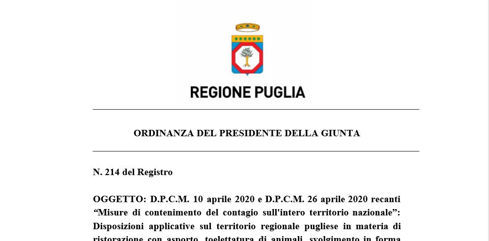 Emanata Ordinanza Della Regione Puglia n° 214
