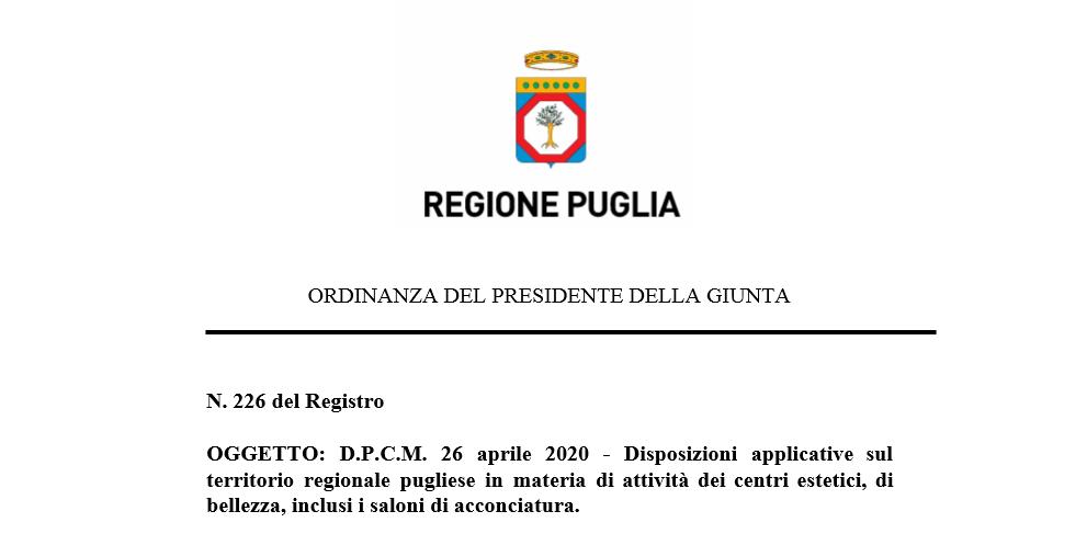 Ordinanza N 226 Regione Puglia