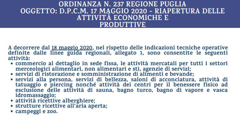 Ordinanza Regione Puglia N. 237 – Linee guida per ripartire in sicurezza